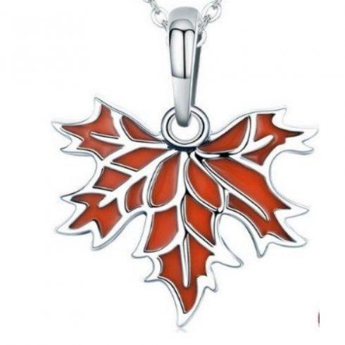 Ezüst nyaklánc, juharlevél medállal, bordó (Pandora stílus)