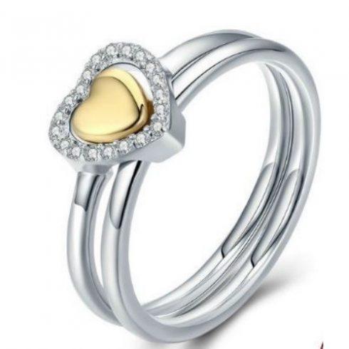 Ezüst gyűrű szív alakú díszítéssel, 7-es méret (Pandora stílus)