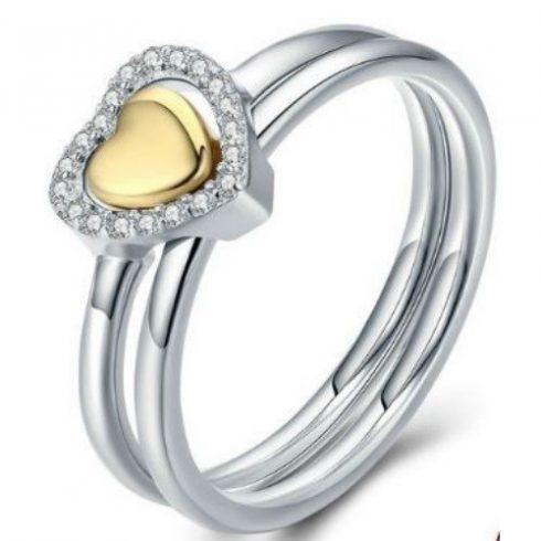 Ezüst gyűrű szív alakú díszítéssel, 8-as méret (Pandora stílus)