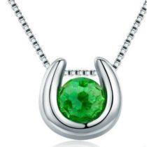 Ezüst nyaklánc patkó alakú medállal, zöld (Pandora stílus)