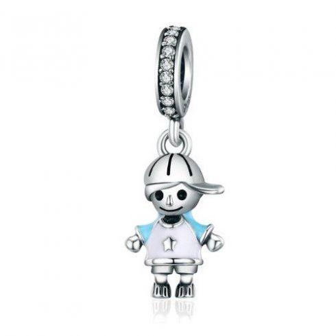 Ezüst kisfiú charm cirkóniumkristállyal -  Pandora stílus