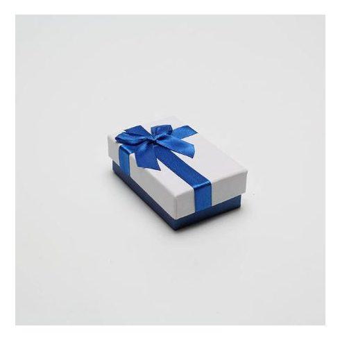 Ékszerdoboz kék masnival, papír, 8 x 5 cm.