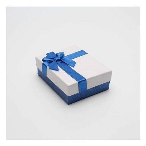 Ékszerdoboz kék masnival, papír, 9 x 7 cm