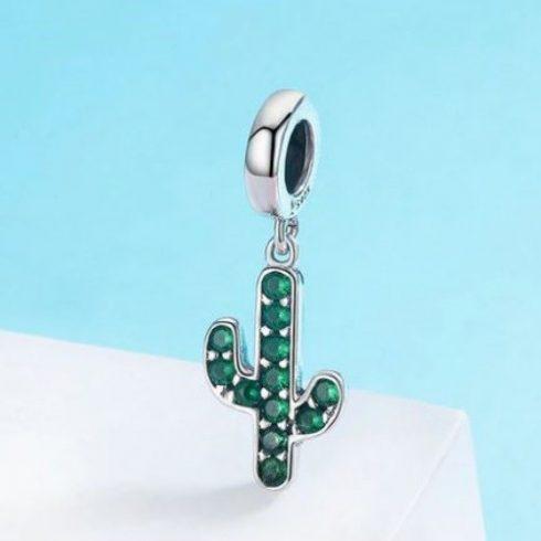 Ezüst kaktusz charm cirkóniumkristállyal