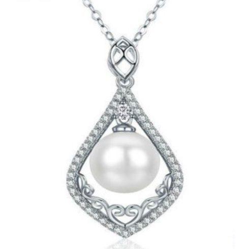 Ezüst nyaklánc csepp alakú medállal és gyönggyel, fehér (Pandora stílus)