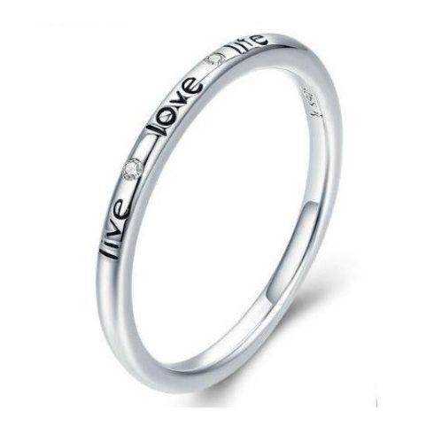 Ezüst gyűrű love felirattal, 6-os méret (Pandora stílus)