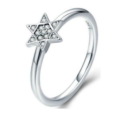 Ezüst gyűrű csillagos díszítéssel, 6-os méret (Pandora stílus)