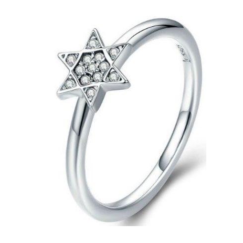 Ezüst gyűrű csillagos díszítéssel, 7-es méret (Pandora stílus)