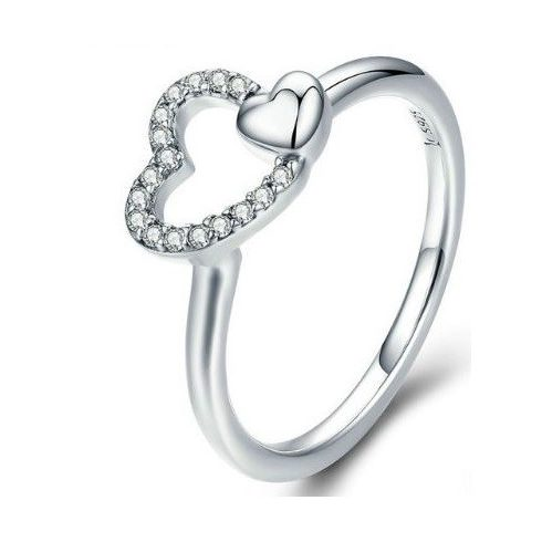 Ezüst gyűrű duplaszíves díszítéssel, 8-as méret