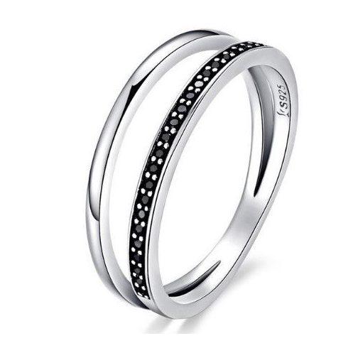 Ezüst gyűrű kristályokkal, fekete, 8-as méret