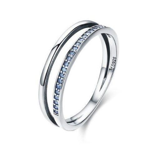 Ezüst gyűrű kristályokkal, kék, 8-as méret
