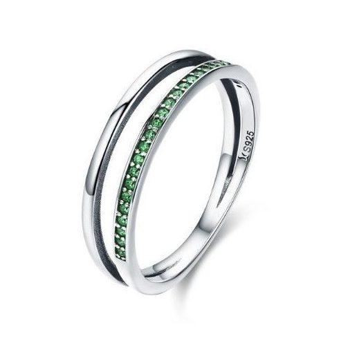 Ezüst gyűrű kristályokkal, zöld, 6-os méret (Pandora stílus)