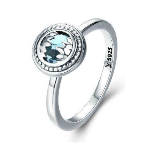 Ezüst gyűrű kék kristállyal, 6-os méret