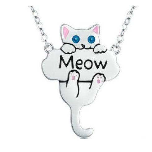 Ezüst nyaklánc macskával, cirkónium kővel (Pandora stílus)