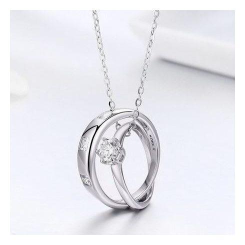 Ezüst nyaklánc, duplagyűrűs medállal (Pandora stílus)