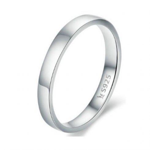 Ezüst gyűrű klasszikus stílusban, platina bevonattal, 8-as méret (Pandora stílus)
