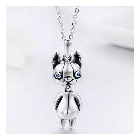 Ezüst nyaklánc, kutyás medállal, kék kristállyal (Pandora stílus)