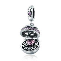 Ezüst ajándékdobozka charm cirkóniumkristállyal, rózsaszín