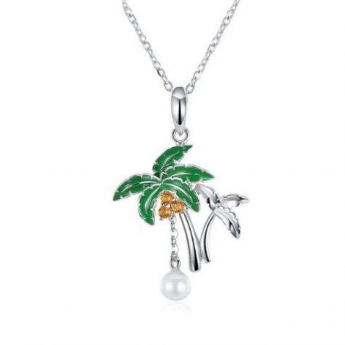 Ezüst nyaklánc pálmafával és gyönggyel (Pandora stílus)