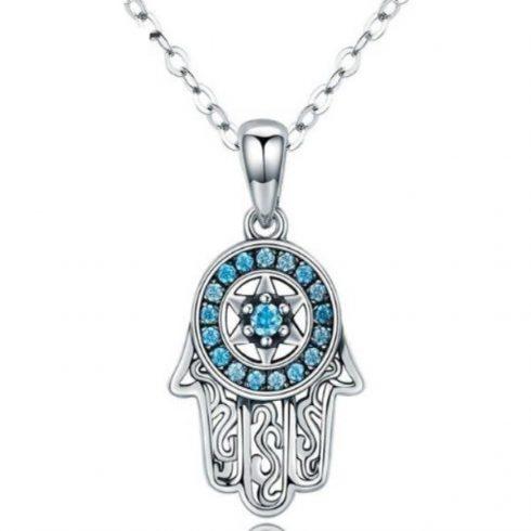Ezüst nyaklánc Hamsa medállal, kék kristállyal (Pandora stílus)