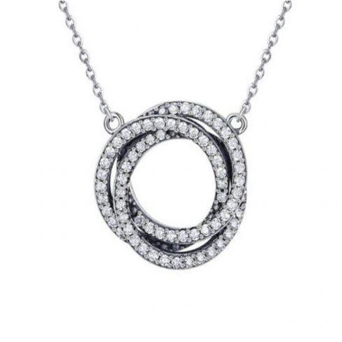 Ezüst nyaklánc kristályspirállal (Pandora stílus)