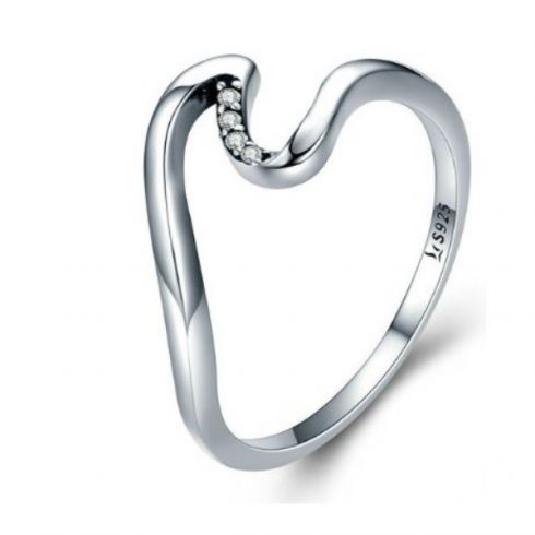 Ezüst gyűrű hullámos formával, 7-es méret (Pandora stílus)