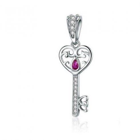 Ezüst kulcs charm cirkóniumkristállyal -  Pandora stílus