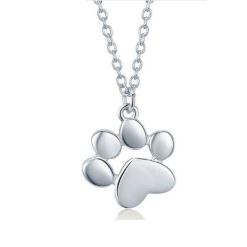 Ezüst nyaklánc kutyamancs medállal (Pandora stílus)