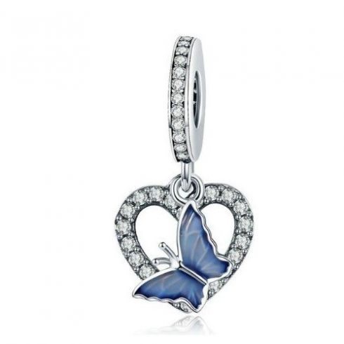 Ezüst szív charm kék pillangóval