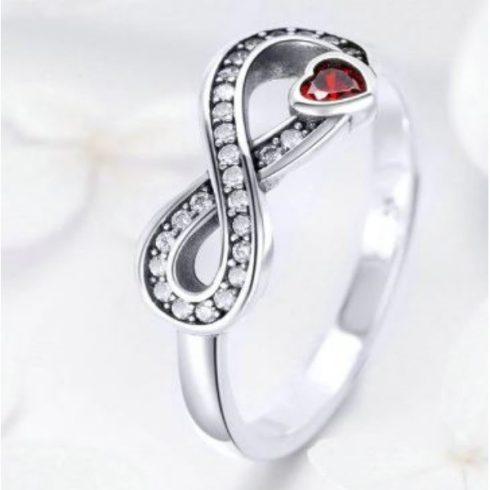 Ezüst gyűrű a végtelen jelével és szívvel, 7-es méret