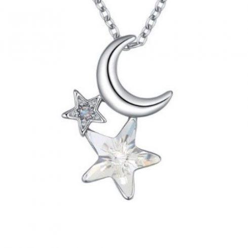 Nyaklánc Hold-csillag medállal, Swarovski kristállyal díszített, kristály