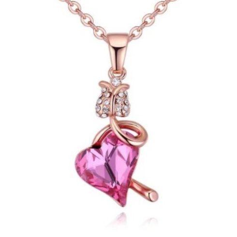 Nyaklánc virágos szív medállal, Swarovski kristállyal díszített, rózsaszín