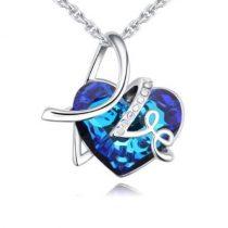 Nyaklánc szív medállal, LOVE felirattal, Swarovski kristállyal, kék