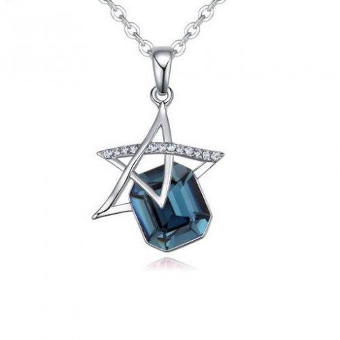 Nyaklánc csillagszem medállal, Swarovski kristállyal díszített, kék