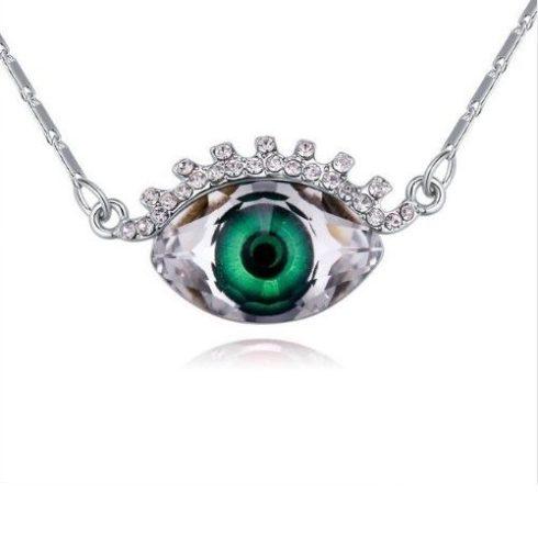 Nyaklánc szemet formázó medállal, Swarovski kristállyal díszített, smaragdzöld