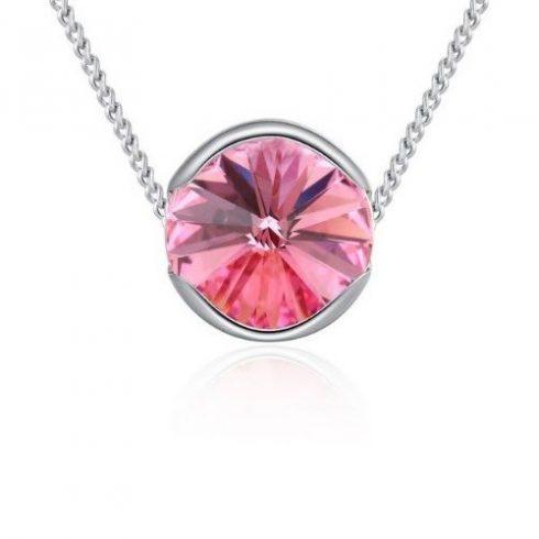 Nyaklánc kerek Swarovski kristállyal díszített medállal, rózsaszín