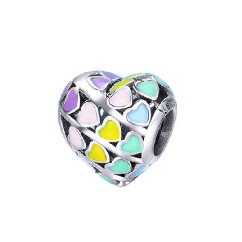 Ezüst szív charm színes szívecskékkel -  Pandora stílus