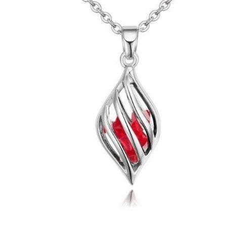 Nyaklánc csepp alakú medállal, cseh kristállyal, piros