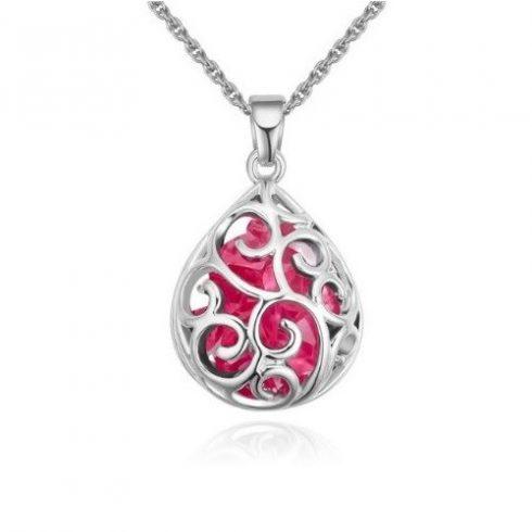 Nyaklánc csepp alakú medállal, cseh kristállyal, rózsaszín