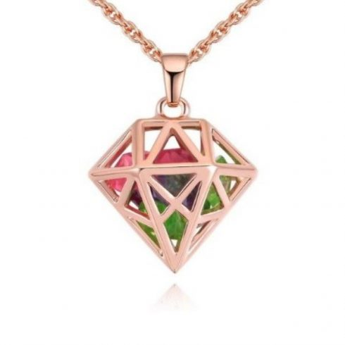 Nyaklánc gyémántkristály formájú, áttört medállal, multikolor
