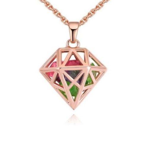 Nyaklánc gyémántkristály alakú medállal, cseh kristállyal, multikolor