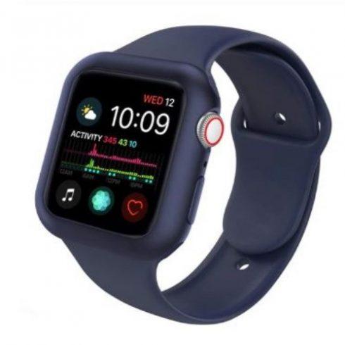 Apple watch óraszí tokkalj, szilikon, 42 mm, M, L, sötétkék