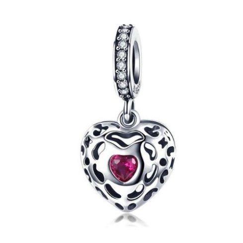 Ezüst szív charm cirkóniumkristállyal, lila -  Pandora stílus