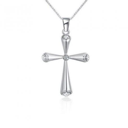 Nyaklánc ezüst színű kereszt medállal, cseh kristállyal, fehér