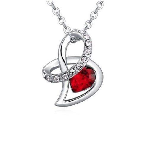 Nyaklánc Swarovski  kristállyal díszített szíves medállal, piros