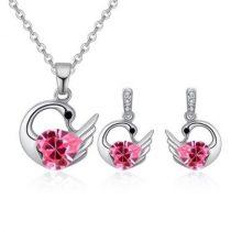 Hattyús nyaklánc és fülbevaló szett Swarovski kristállyal, rózsaszín