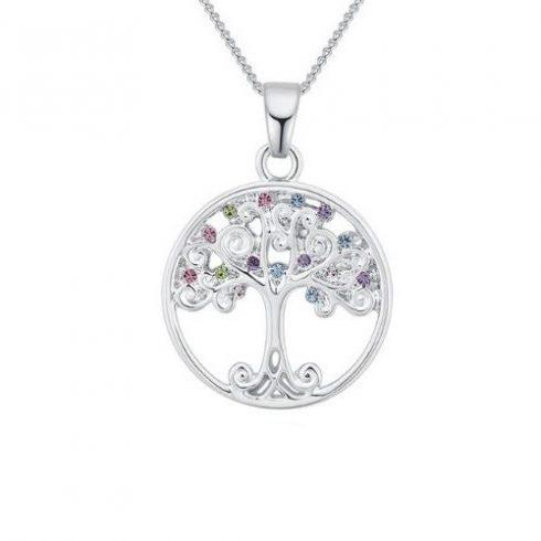Nyaklánc életfa medállal, színes kristályokkal, ezüst színű