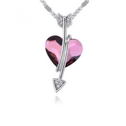 Nyaklánc nyilas szív medállal, Swarovski kristállyal díszített, rózsaszín