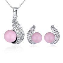 Gyöngyös nyaklánc és fülbevaló szett Swarovski kristállyal, rózsaszín