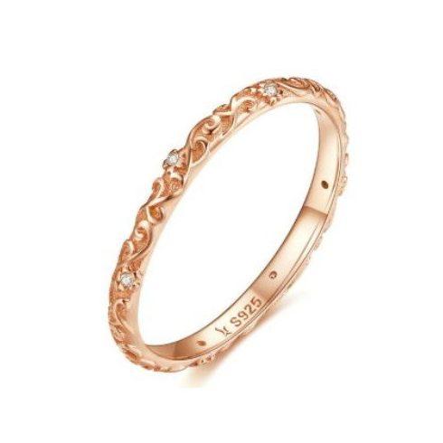 Ezüst gyűrű cirkóniumkristállyal, rosegold, 8-as méret